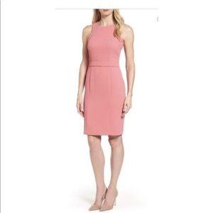 NWT HUGO BOSS Dalanea Belted Pastel red dress